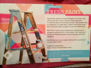 September Birchbox Information Card