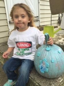 Ava and her blue Elsa pumpkin